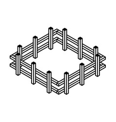 Farm fence isometric icon vector