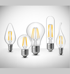 Filament led lightbulbs realistic set vector