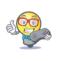 Gamer light bulb character cartoon vector