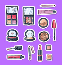hand drawn makeup elements stickers vector image vector image