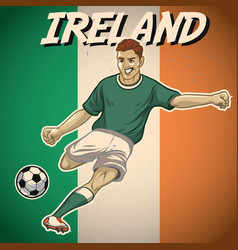Ireland soccer player with flag background vector