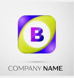 letter b logo symbol in the colorful square on vector image