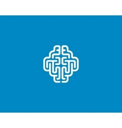 Linear brain logo generate idea design template vector image