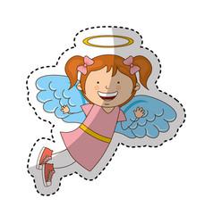 little girl angel character vector image