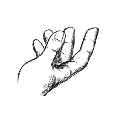 man hand gesture hand drawn vector image