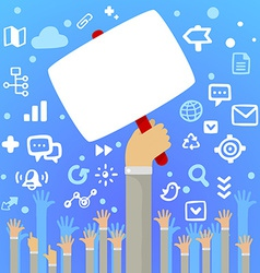 Mans hand holding a large blank white board above vector image