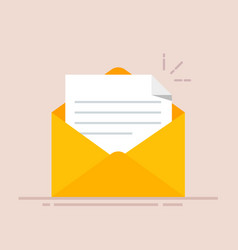 Open envelope with a document new letter sending vector