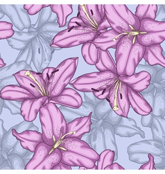 Seamless background with violet lilies vector