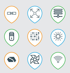 Set of 9 machine learning icons includes related vector