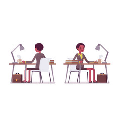 Set of female teacher working at desk rear front vector