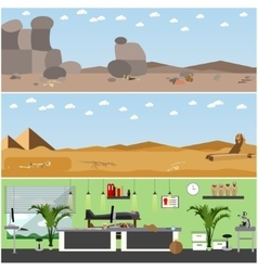 set of posters banners with archaeologists vector image vector image