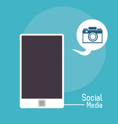 Smartphone bubble photo camera social media vector