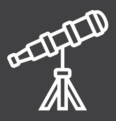 Telescope line icon astronomy and science vector