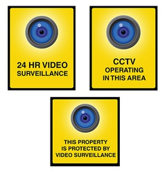 Video surveillance camera sign blue eye vector