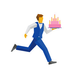 Waiter in blue runs with a cake on a tray vector