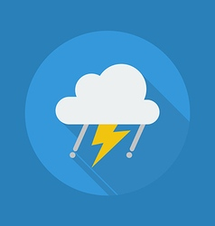 Weather flat icon rainy with thunder vector