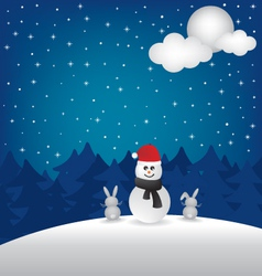 Winter night and snowman vector image vector image