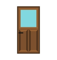 Interior apartment wooden door icon flat style vector