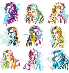 Set of art portraits of females drawn in vector