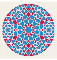Blue red islamic ornamental rosette circle vector