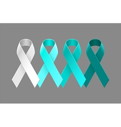 Set of teal ribbons from white to dark teal vector image