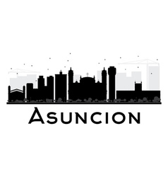 Asuncion city skyline black and white silhouette vector