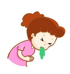 Ill woman vomiting cartoon vector