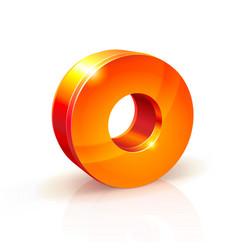 shiny orange red 3d number 0 vector image