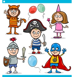Children in fancy ball costumes set vector