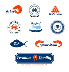Seafood labels icons set vector