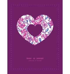 Vibrant field flowers heart symbol frame pattern vector