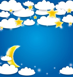 Blue background with white clouds stars and moon vector image