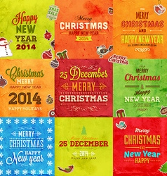 Retro christmas card set vector