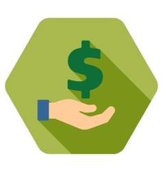 Banking service flat hexagon icon with long shadow vector