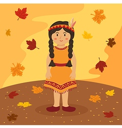 Thanksgiving native indian braid girl vector