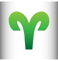 Aries sign green gradient icon vector