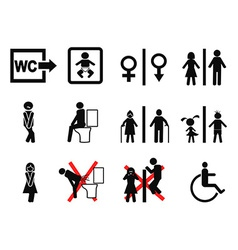 black bathroom symbol vector image vector image