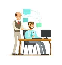 businessmen colleagues discussing business issues vector image vector image