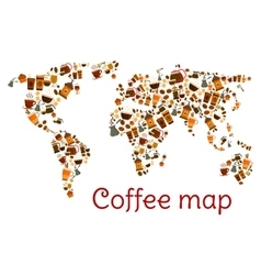 Coffee world map poster with cup and dessert vector image vector image