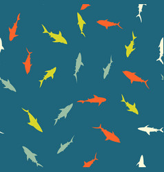 colorful pattern with bright sharks vector image vector image