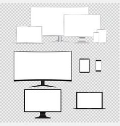 Computer monitor laptop tablet phone isolated vector