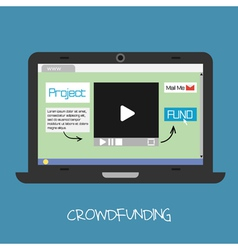 Crowdfunding concept online fund the project netwo vector