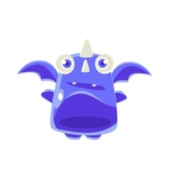 Cute jelly toy blue dragon icon vector