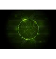 Dark green tech circuit board background vector image vector image