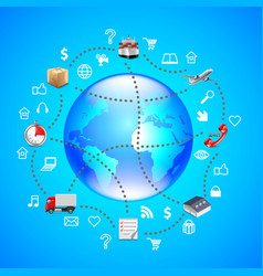 Earth globe and logistics icons around it on blue vector image vector image