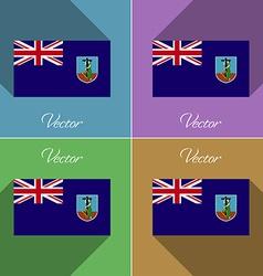 Flags montserrat set of colors flat design and vector