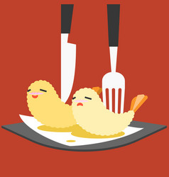 Funny cartoon japanese food vector