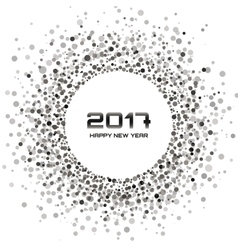 Gray Circle New Year 2017 frame white Background vector image