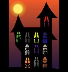 halloween silhouette set vector image
