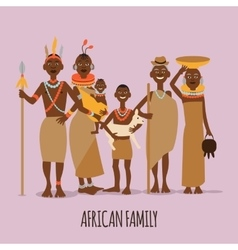 Happy african family mother father children and vector